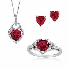 7.05 Cts Natural Ruby Diamonds Pendant Earrings Ring Set In Fine 14K White Gold