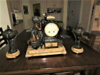 Japy Freres Three Piece French Garniture Clock