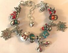 ❤️European CHARM BEADS CHRISTMAS BRACELET 🎄 Silver Plated  Beads & Chain #6❤️