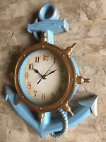 Distressed BLUE/ Gold accents.Anchor Clock. Anchor Shelf Beach Nautical Decor