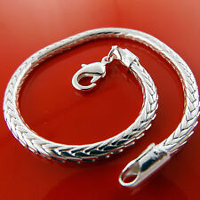 BRACELET BANGLE GENUINE REAL 925 STERLING SILVER S/F SOLID SNAKE CUFF DESIGN