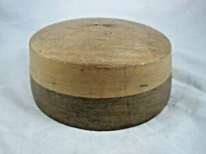 """Vintage Solid Wood Hat Block Millinery Form Mold Crown Oval Two Tone 22.25"""""""