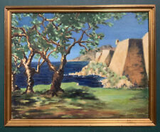 More details for original mid century impressionist seascape oil on board painting, signed