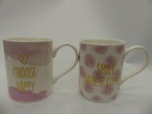 (ref288MG2) Pink Mugs Be Happy Smile