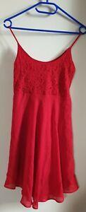 Daspi Chiffon Damenkleid Tanzkleid Schwingkleid Rot gr 38