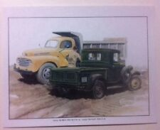 """1934 Ford Pickup & 1949 Dump Truck"" Illustration 8x10 Reprint Garage Decor"