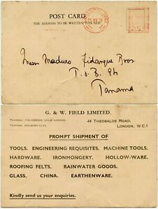 GB to PANAMA 1939 METER FRANKING G.W FIELD PRINTED RATE 1/2d WW2