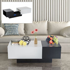 HOMCOM Modern Coffee Table Storage Unit with Sliding Top Black and White Living