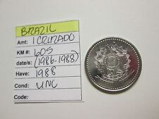 Single coin from BRAZIL,  1 cruzado, 1988, unc, KM 605 (1986-1988)