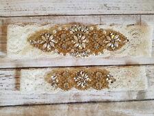 Wedding Garter, Gold Rhinestone Garter Set, Ivory Lace, Keepsake&Toss Garter