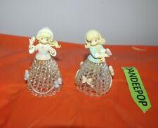 2 Precious Moments Pmi Seasonal Figurine Bells With Spun Glass Bottom