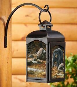 Streamside - Black Bear Candle Lantern (Black) by Rosemary Millette
