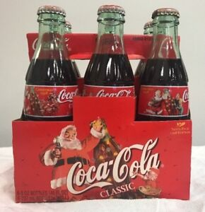 1998 Santa Pack Coca-Cola Bottles - 6 Pack