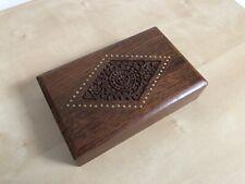 Wooden Brown Indian Trinket Storage Box 13x20.5x5cm Excellent Condition Carved