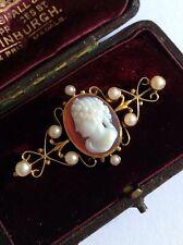 BELLE Vittoriano 15 KT GOLD HARDSTONE Agata Cameo & Semi Pearl Set Spilla
