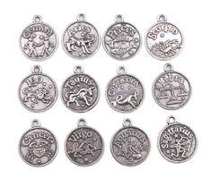 24Pcs Assorted Antiqued Silver Zodiac Charm Pendants