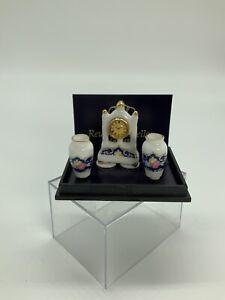 Dollhouse Miniture Ruetter Porcelain Mantle Clock + 2 Vases