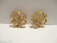 Earrings KJL Avon Ribbon Bow Kenneth Jay Lane Rhinestone Goldtone Clip-on K.J.L.