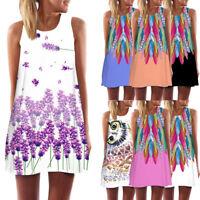 2018 Women Loose Summer Vintage Sleeveless 3D Floral Print Bohe Tank Short Dress