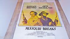 MISSOURI BREAKS    !  m brando jack nicholson  affiche cinema