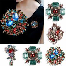 Flower Branch Rhinestone Crystal Brooch Pin Women Wedding Fashion Jewelry Gift