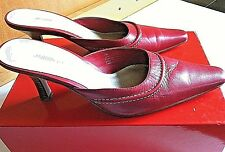 Women's Shoes Heels Pointed Toe Red Leather Slip On Mules Size 7 Jasmin Studio