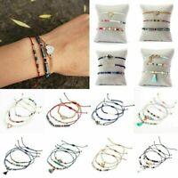 3Pcs Boho Women's Shell Pearl Beads Natural Stone Tassel Crystal Bracelet Set