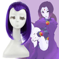 Women Cosplay Wig Dark Purple Middle Part Straight Bob Hair Styled Anime Wigs