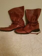 JOAN DAVID BROWN LEATHER MID CALF BOOTS ITALY 7 1/2M