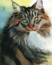 Giclee Print Maine Coon Tabby Cat Art Painting Pet Portrait Watercolor