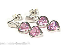 9ct White Gold Pink CZ Heart Drop Earrings Made in UK Gift Boxed