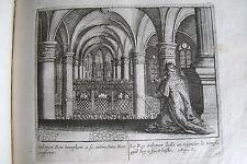 C21-96 Gravure religieuse 17e le roy Salomon dedie au Seigneur le temple (Roys 8