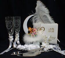 Garfield & Arlene Cat Wedding Cake Topper Glasses Knife Server Book Garter LOT