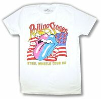 The Rolling Stones Steel Wheels 1989 Tour Reissue White T Shirt New Official