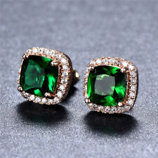 Princess Cut Emerald Sapphire Square CZ Stud Earrings Rose Gold Wedding Jewwlry