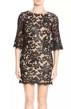 DRESS THE POPULATION MELODY SEQUIN BLACK/NUDE LACE DRESS SIZE S