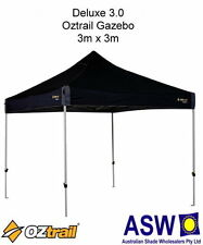 3m x 3m Oztrail Gazebo DELUXE 3.0 BLACK Instant Fold Marquee G-OZD3.0
