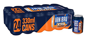 IRN-BRU Xtra No Sugar   24 x 330ml Cans   BRU'd in Scotland Since 1901 to a With