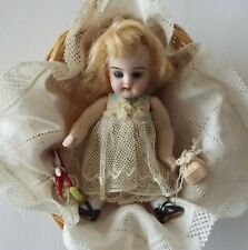 """Antique Miniature 4&1/2"""" German All-Bisque Doll Marked 251 – Original Outfit"""
