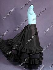 Black Gothic Victorian Bustle Skirt Steampunk Witch Theater Costume N K034 XXXL