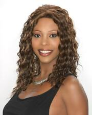 NEW Carefree Sherry Human Hair Blend Curly Wig Dark Brown with Auburn