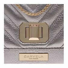 CARVELA. KURT GEIGER. LADIES. GOLD BLAKE LOCK QUILTED CLUTCH BAG