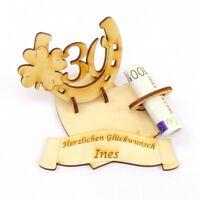 Geldgeschenk Geburtstags Zahl 30, Hufeisen mit Kleeblatt mit Namensgravur, Holz