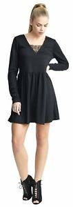 New Womens Oversized A-Line V-Neck Lace Band Skater Swing Dress Top 16-22
