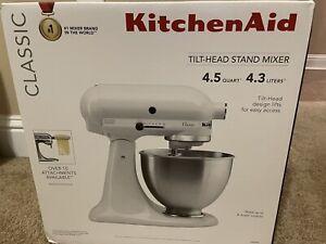 Kitchen Aid K45SSWH CLASSIC White 4.5-Quart Tilt-Head Stand Mixer KitchenAid New