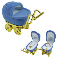 Velvet Trolley Shape Ring Box Earring Pendant Locket Necklace Jewelry Case Blue