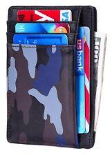 Kinzd Slim Leather RFID Blocking Front Pocket Wallet Credit Card Holder Waxed