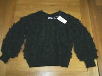 Black Textured Fluffy Chunky Balloon Sleeve Oversized Jumper 12 14 16 Y2K 90s