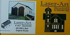 Branchline #657 (HO Scale) 2-Stall Wood Engine House - Laser-Art -- Kit - 8-1/4