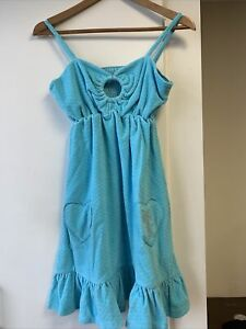 Ladies Summer Beach Dress Velour Strappy Frill Smock Blue Size 10